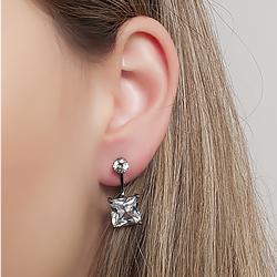 Brinco Ear Jacket Folheado Ródio Negro com Zircônia Cristal