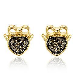 Brinco Folheado Ouro 18K Coração com Pedra Marcassita