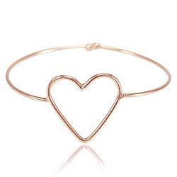 Bracelete Folheado Ouro Rosê 18K Coração Vazado