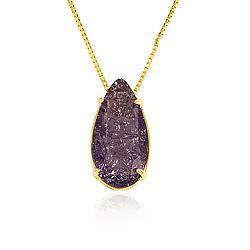 Colar Folheado Ouro 18K com Pedra Fusion Gota Ultra Violet