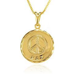 Colar Folheado Ouro 18K Símbolo da Paz