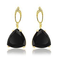 Brinco Folheado Ouro 18K com Triangulo Cristal Negro