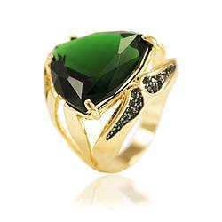 Anel Folheado Ouro 18K com Cristal Triangular Esmeralda