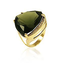 Anel Folheado Ouro 18K com Cristal Triangular Fumê
