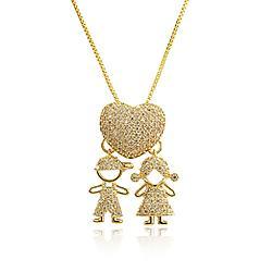 Colar Folheado Ouro 18K Coração Menino e Menina com Micro Zircônia Cristal