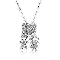 Colar Folheado Ródio Coração Menino e Menina com Micro Zircônia Cristal