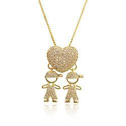 Colar Folheado Ouro 18K Coração 2 Meninos com Micro Zircônia Cristal