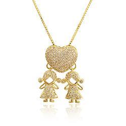 Colar Folheado Ouro 18K Coração 2 Meninas com Micro Zircônia Cristal