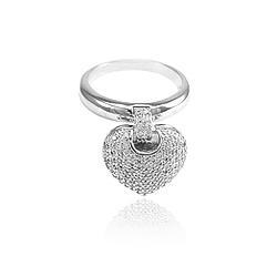 Anel Folheado Ródio Coração Grande Pendurado com Micro Zircônia Cristal