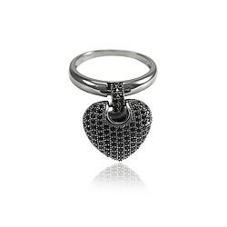 Anel Folheado Ródio Negro Coração Grande Pendurado com Micro Zircônia Negra