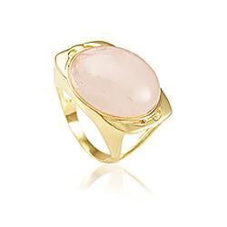 Anel Redondo Folheado Ouro 18K com Pedra Natural Quartzo Rosa