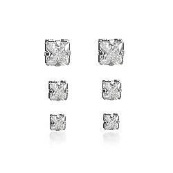 Brinco Trio Quadrado Folheado Ródio Negro com Zircônia Cristal