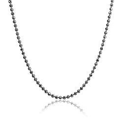 Colar Folheado Ródio Negro Long Necklace Bolinha