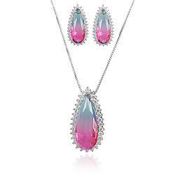 Conjunto Gota Folheado Ródio com Cristal Bicolor Azul e Rosa e Micro Zircônia Cristal