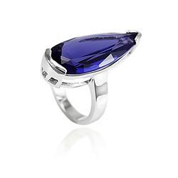 Anel Gota Grande Folheado Ródio com Cristal Ultra Violet
