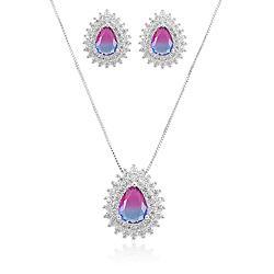 Conjunto Gota Folheado Ródio com Cristal Bicolor Azul Claro e Pink