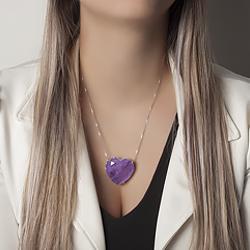 Colar Coração Folheado Ródio com Pedra Fusion Premium Ultra Violet