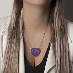 Colar Coração Folheado Ródio Negro com Pedra Fusion Premium Ultra Violet