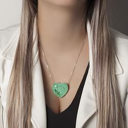 Colar Coração Folheado Ródio com Pedra Fusion Premium Turmalina Verde