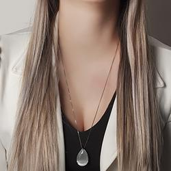 Conjunto Gota Grande Folheado Ródio Negro com Calcedônia Grey Branco
