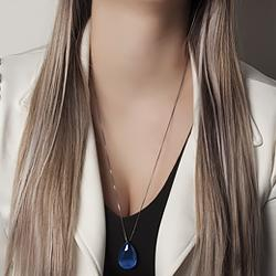 Conjunto Gota Grande Folheado Ródio Negro com Calcedônia Grey Azul