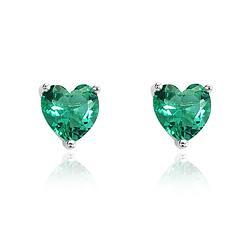 Brinco Coração Folheado Ródio com Cristal Turmalina Verde