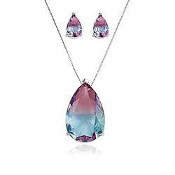 Conjunto Gota Folheado Ródio com Cristal Bicolor Pink e Azul Claro