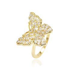 Anel Borboleta Folheado Ouro 18K com Zircônia Cristal