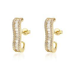 Brinco Ear Hook Folheado Ouro 18K com Baguetes Cristal e Micro Zircônia Cristal