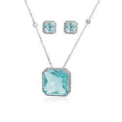 Conjunto Quadrado Folheado Ródio com Cristal Azul Claro e Micro Zircônia Cristal