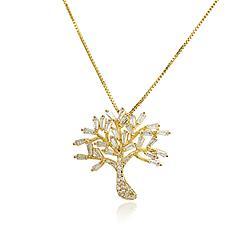Colar Árvore Folheado Ouro 18K com Zircônia Baguete Cristal