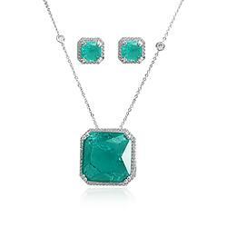 Conjunto Quadrado Folheado Ródio com Pedra Fusion Turmalina Verde e Micro Zircônia Cristal