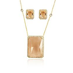 Conjunto Retângulo Folheado Ouro 18K com Cristal Morganita e Micro Zircônia Cristal