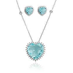 Conjunto Coração Folheado Ródio com Cristal Azul Claro e Micro Zircônia Crista