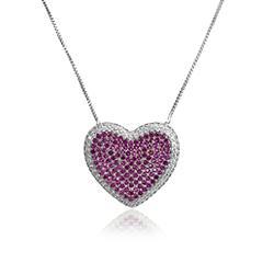 Colar Coração Folheado Ródio com Micro Zircônia Cristal e Pink