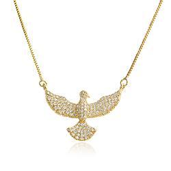 Colar Pássaro Folheado Ouro 18K com Micro Zircônia Cristal