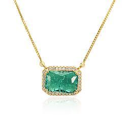 Colar Retângulo Folheado Ouro 18K com Pedra Fusion Turmalina Verde