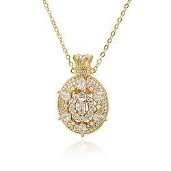 Colar Perfumeiro Oval Folheado Ouro 18K com Zircônia Cristal
