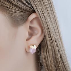Brinco Coleção Rústica Folheado Ouro 18K com Pedra Natural Quartzo Rosa