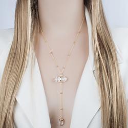 Colar Gravata Coleção Rústica Folheado Ouro 18K com Pedra Natural Cristal