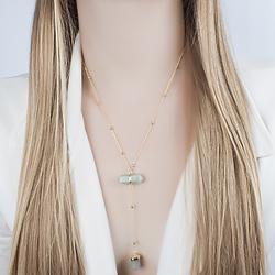 Colar Gravata Coleção Rústica Folheado Ouro 18K com Pedra Natural Quartzo Verde