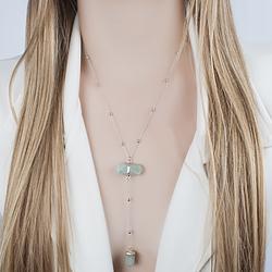 Colar Gravata Coleção Rústica Folheado Ródio com Pedra Natural Quartzo Verde