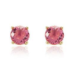 Brinco Redondo Grande Folheado Ouro 18K com Cristal Rosa
