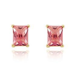 Brinco Retângulo Grande Folheado Ouro 18K com Cristal Rosa
