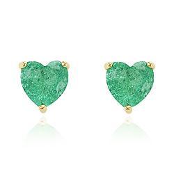 Brinco Coração Grande Folheado Ouro 18K com Pedra Fusion Turmalina Verde