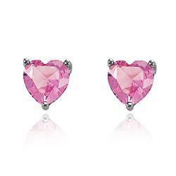 Brinco Coração Grande Folheado Ródio Negro com Cristal Rosa