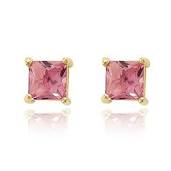 Brinco Quadrado Grande Folheado Ouro 18K com Cristal Rosa