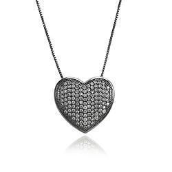 Colar Folheado Ródio Negro com Coração Cravejado de Micro Zircônia Cristal