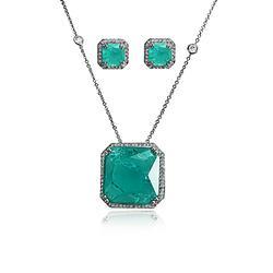 Conjunto Quadrado Folheado Ródio Negro com Pedra Fusion Turmalina Verde e Micro Zircônia Cristal