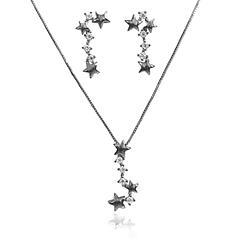 Conjunto Estrelas Folheado Ródio Negro com Ponto de Luz Cristal